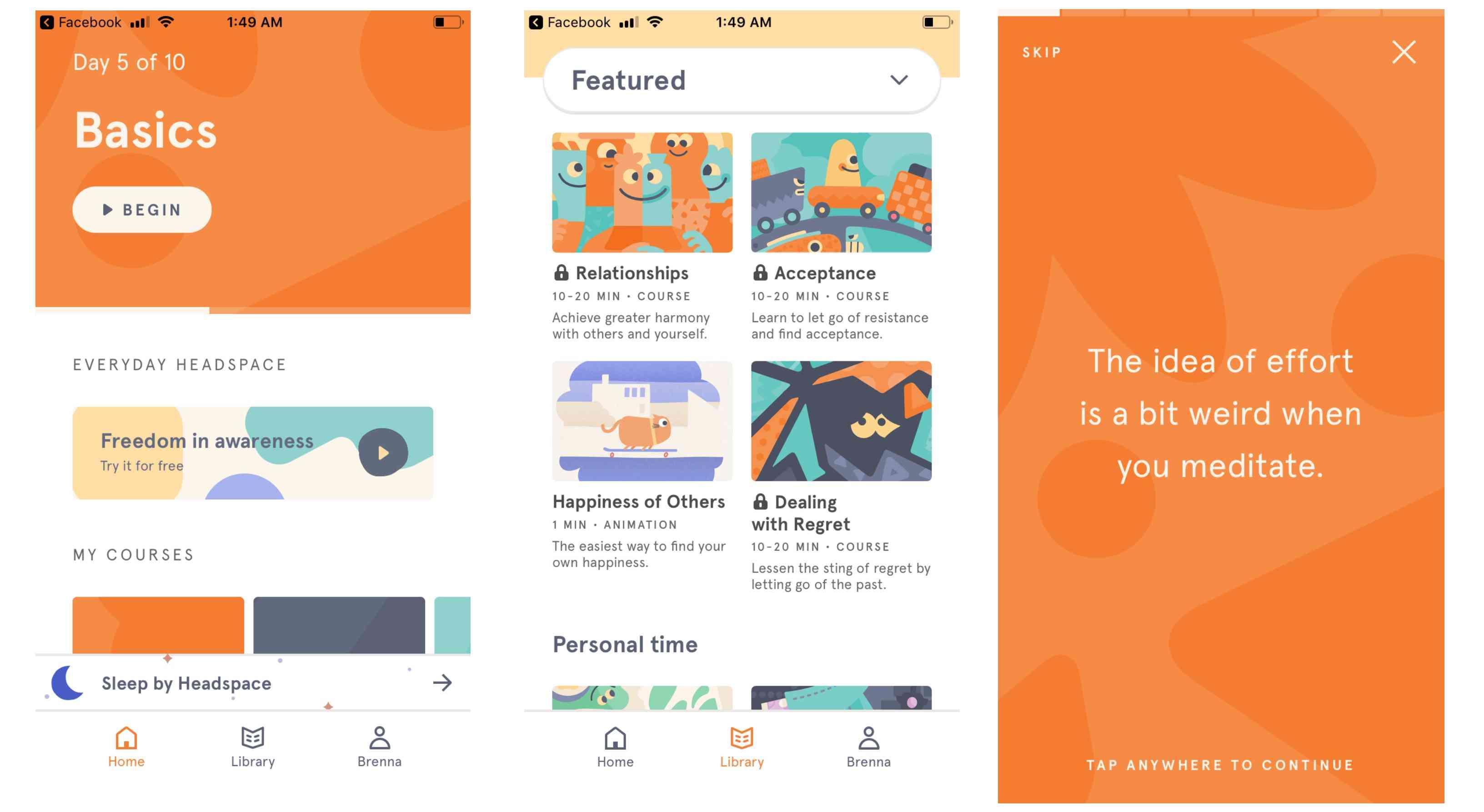 Screenshot of Headspace on iPhone