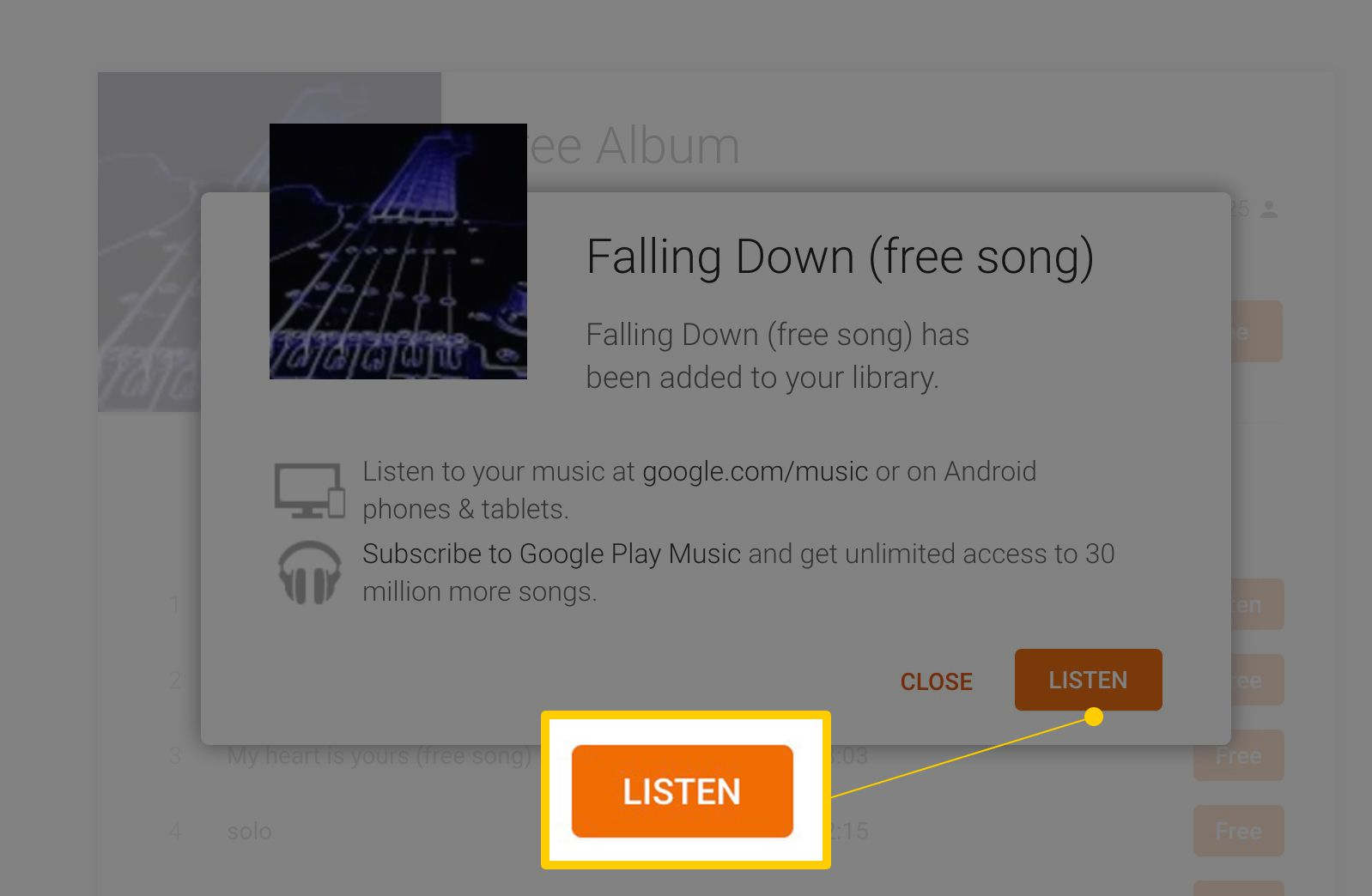 Listen Button In Free Album Detail View On Google Play Music