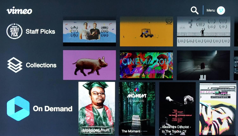 Vimeo–Roku Channel Menu Example