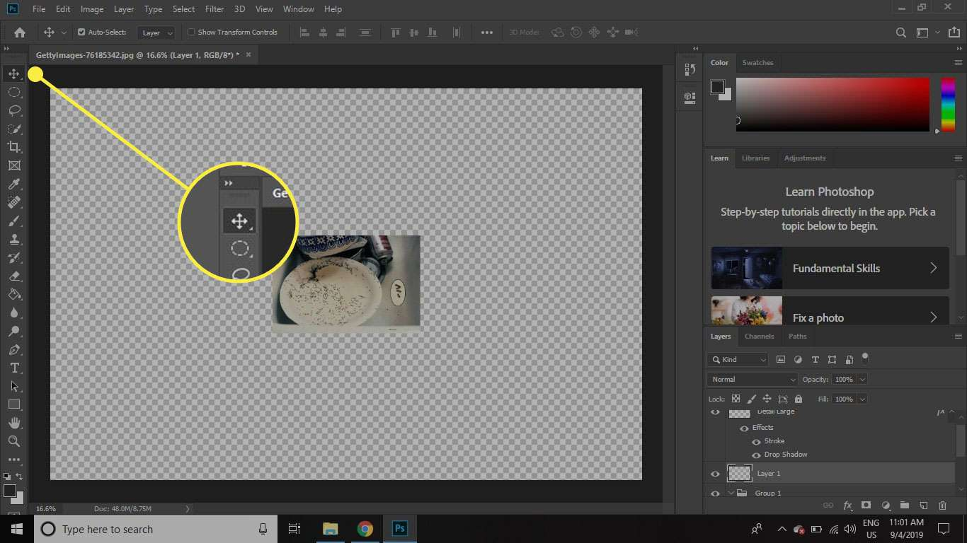A screenshot of Photoshop with the Move tool highlighted