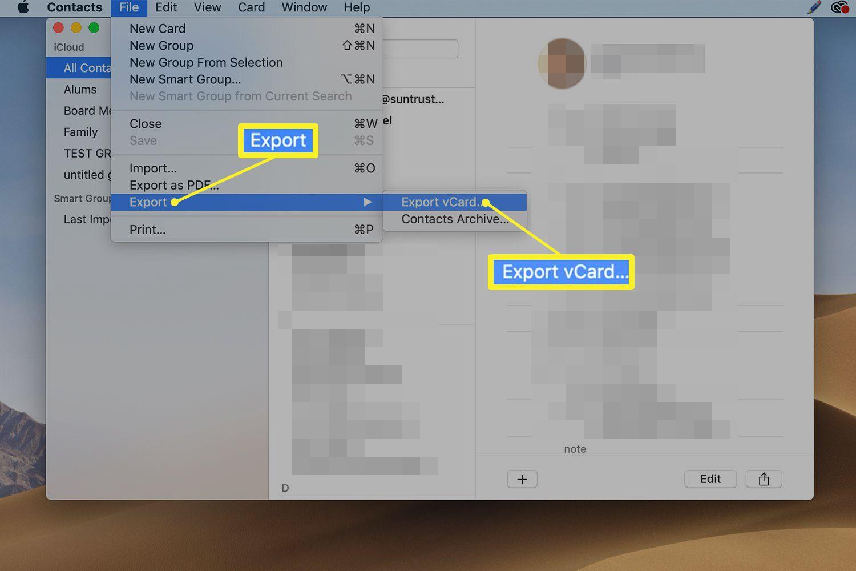 Contacts application export screen