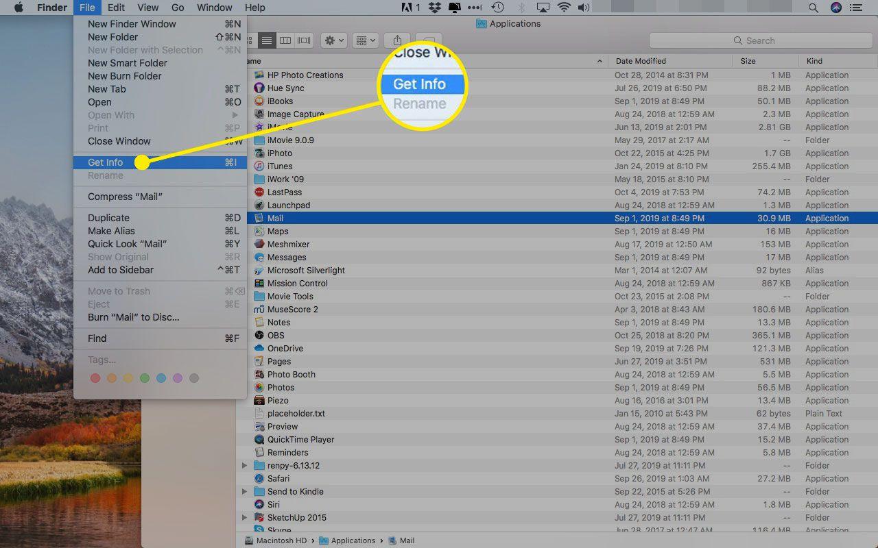 Get Info option under the File menu on a Mac