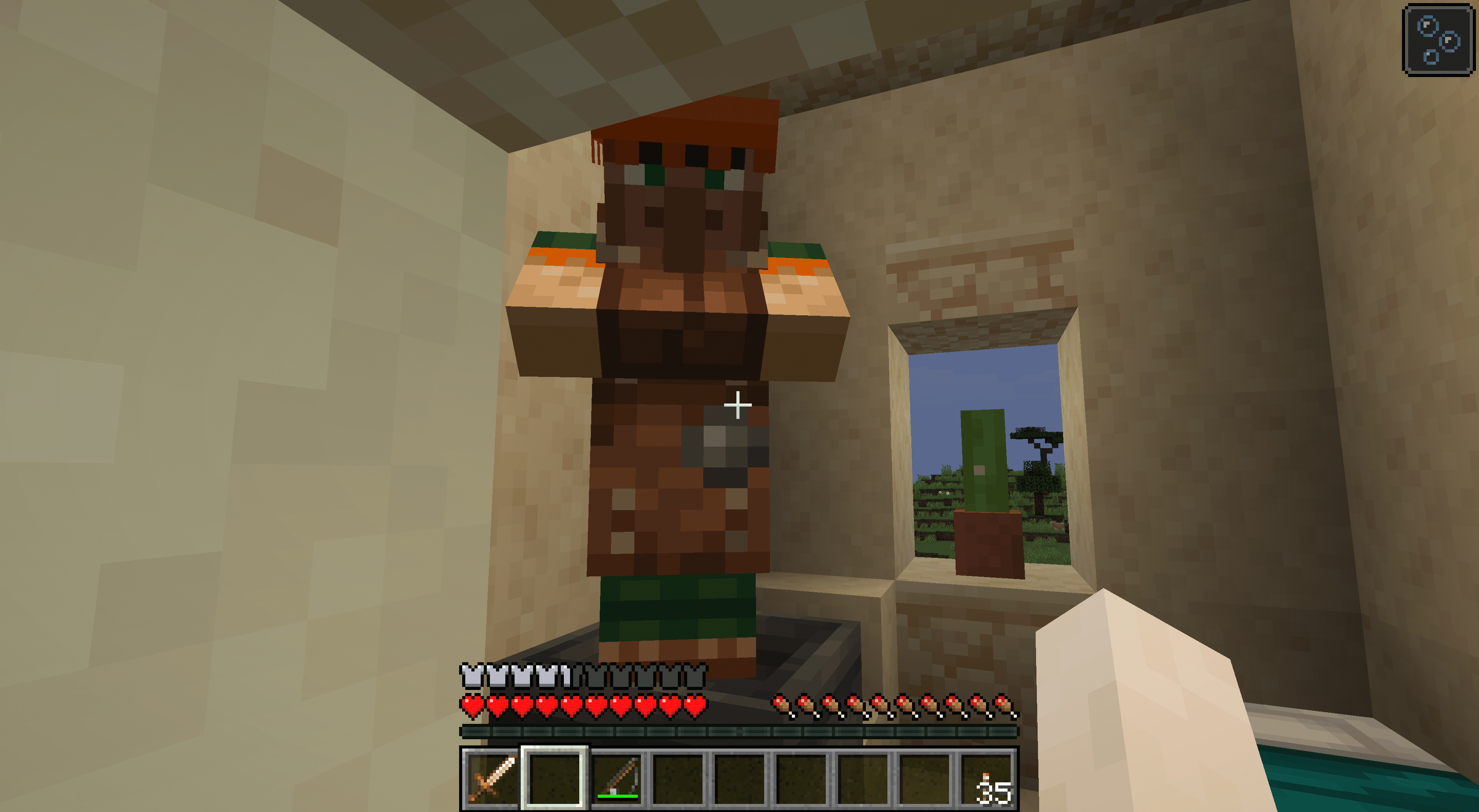 A leatherworker in Minecraft.