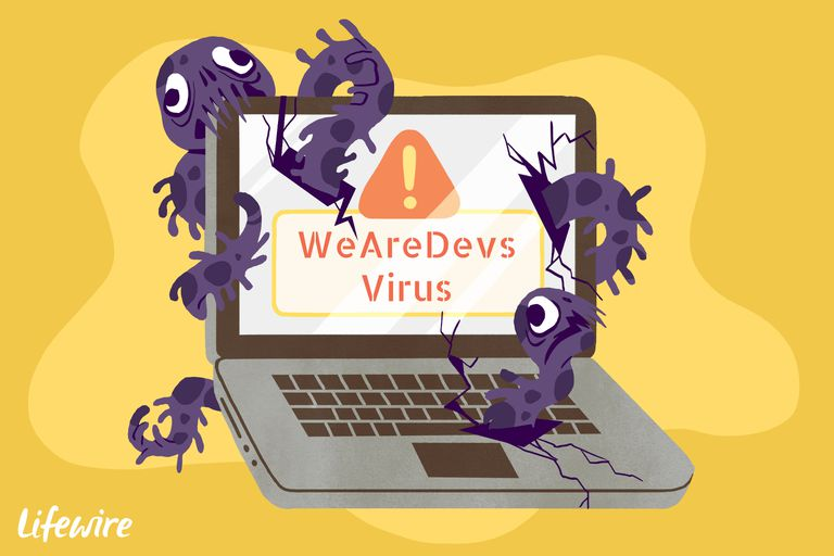 A conceptual illustration of the WeAreDevs virus destroying a laptop computer.