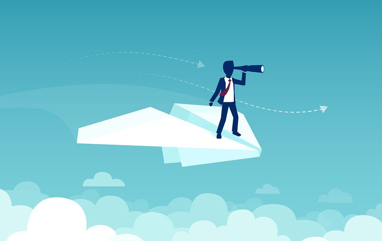 Vector of a businessman flying on a papaer plane searching new opportunities