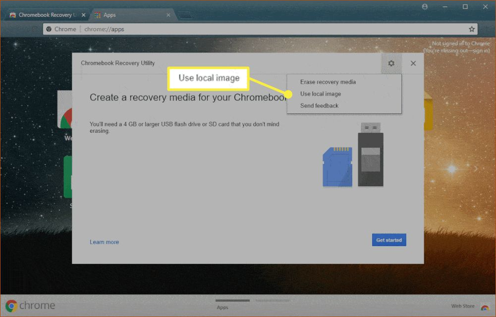 The Chromebook Recovery Utility app with 'Use local image' highlighted