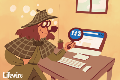 Illustration of a person dressed up as Sherlock Holmes holding a magnifying glass in front of a Facebook page on a computer