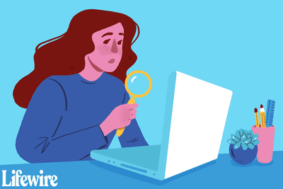An illustration of a woman searching for something on her computer