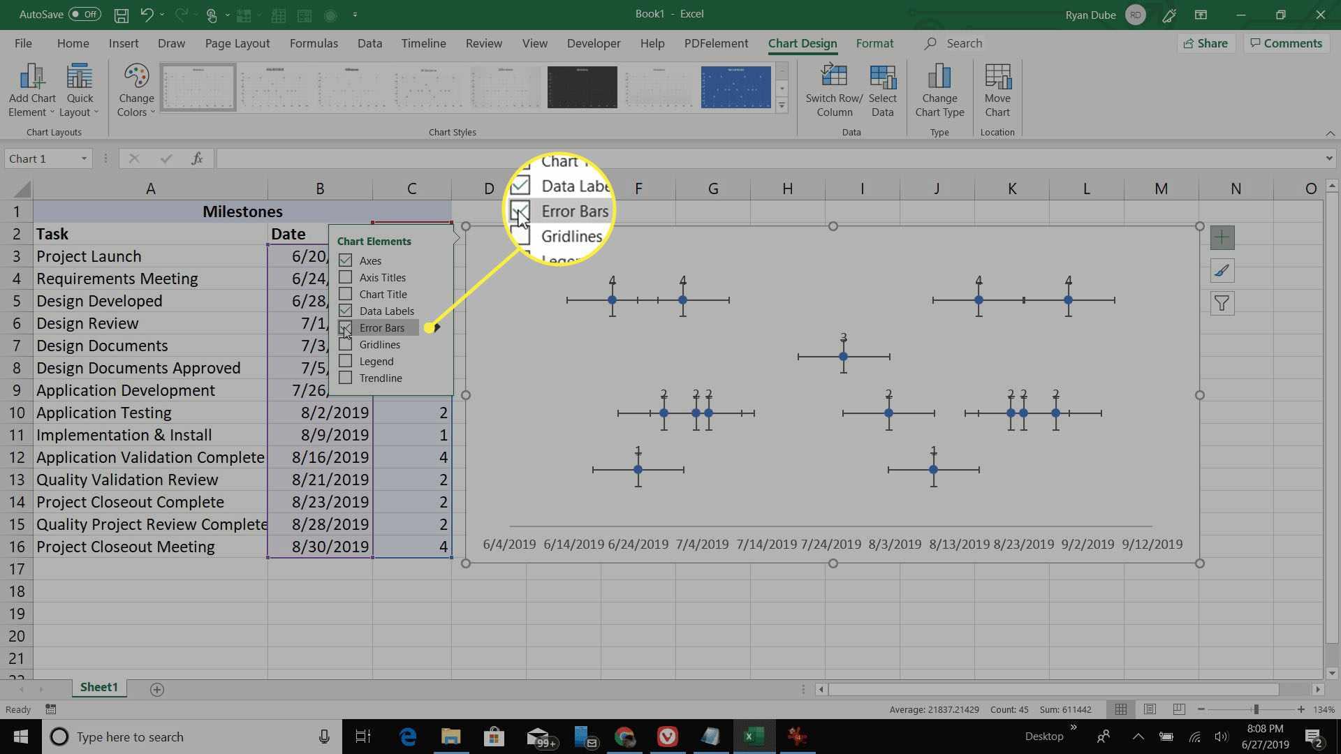 selecting scatter plot error bars