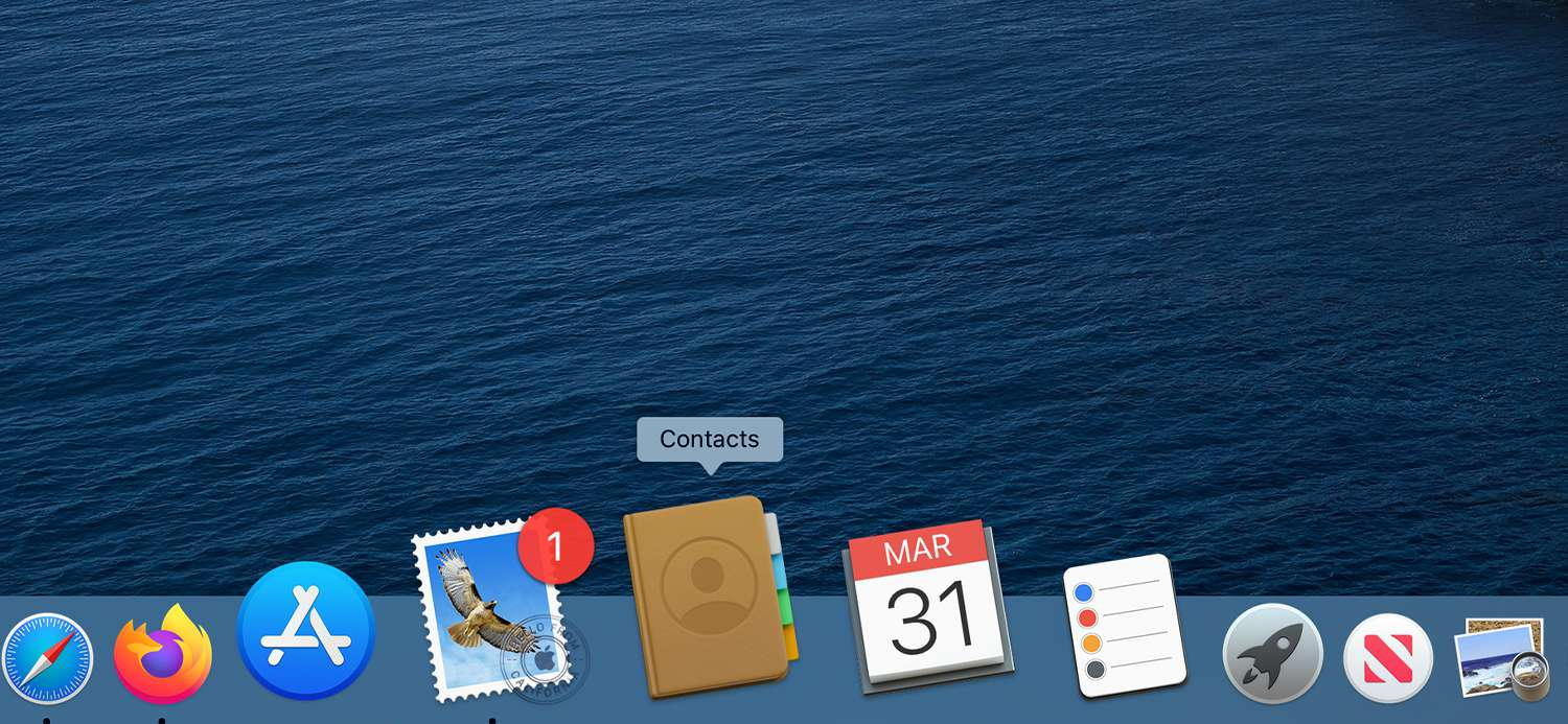 The Dock showing the Contacts app icon