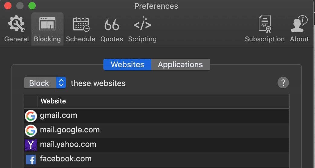 Screenshot of the Focus app.