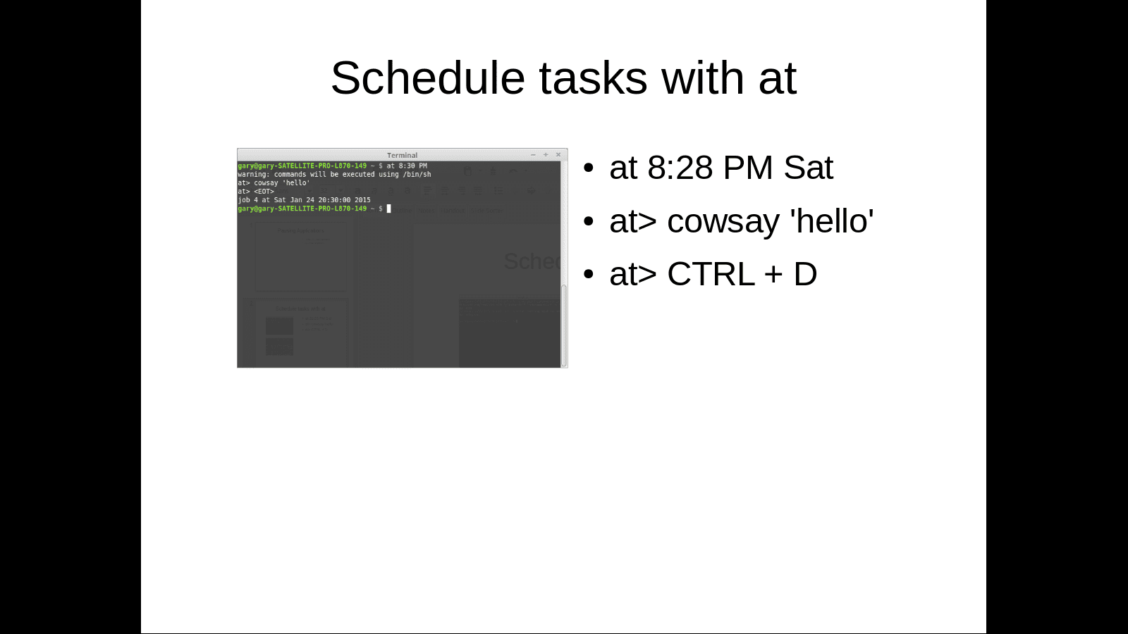 Schedule tasks with at command through Linux terminal