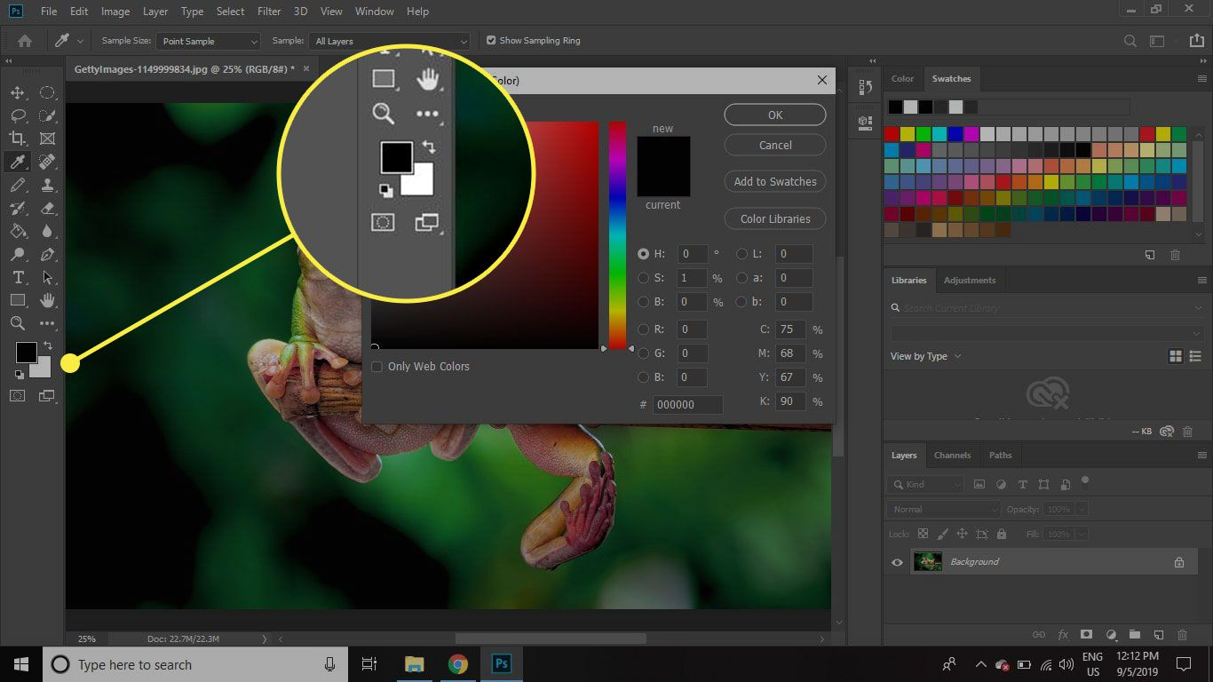 A screenshot of Photoshop with the Foreground and Background Color swatches highlighted