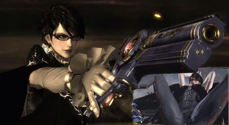 Bayonetta screenshot holding gun