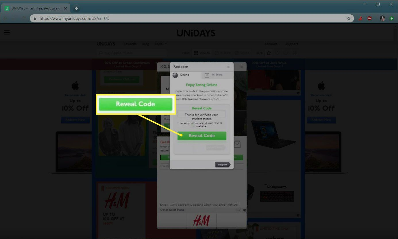 Unidays Reveal Code button