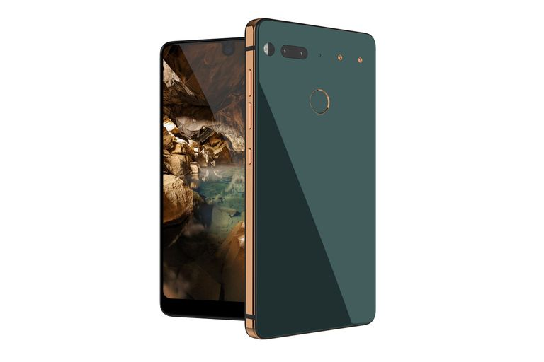 A stock photo of the Essential Phone from Essential Products, Inc. It partially shows the front of the phone and shows the whole backside of the phone. Both phones are positioned perpendicular to each other on a white background.