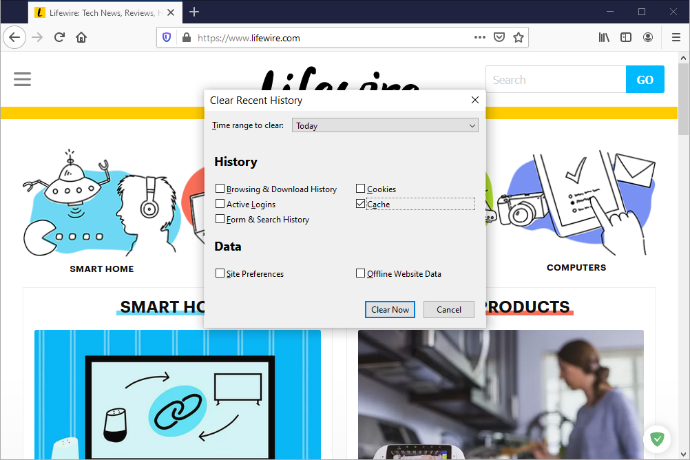 Firefox clear recent history screen