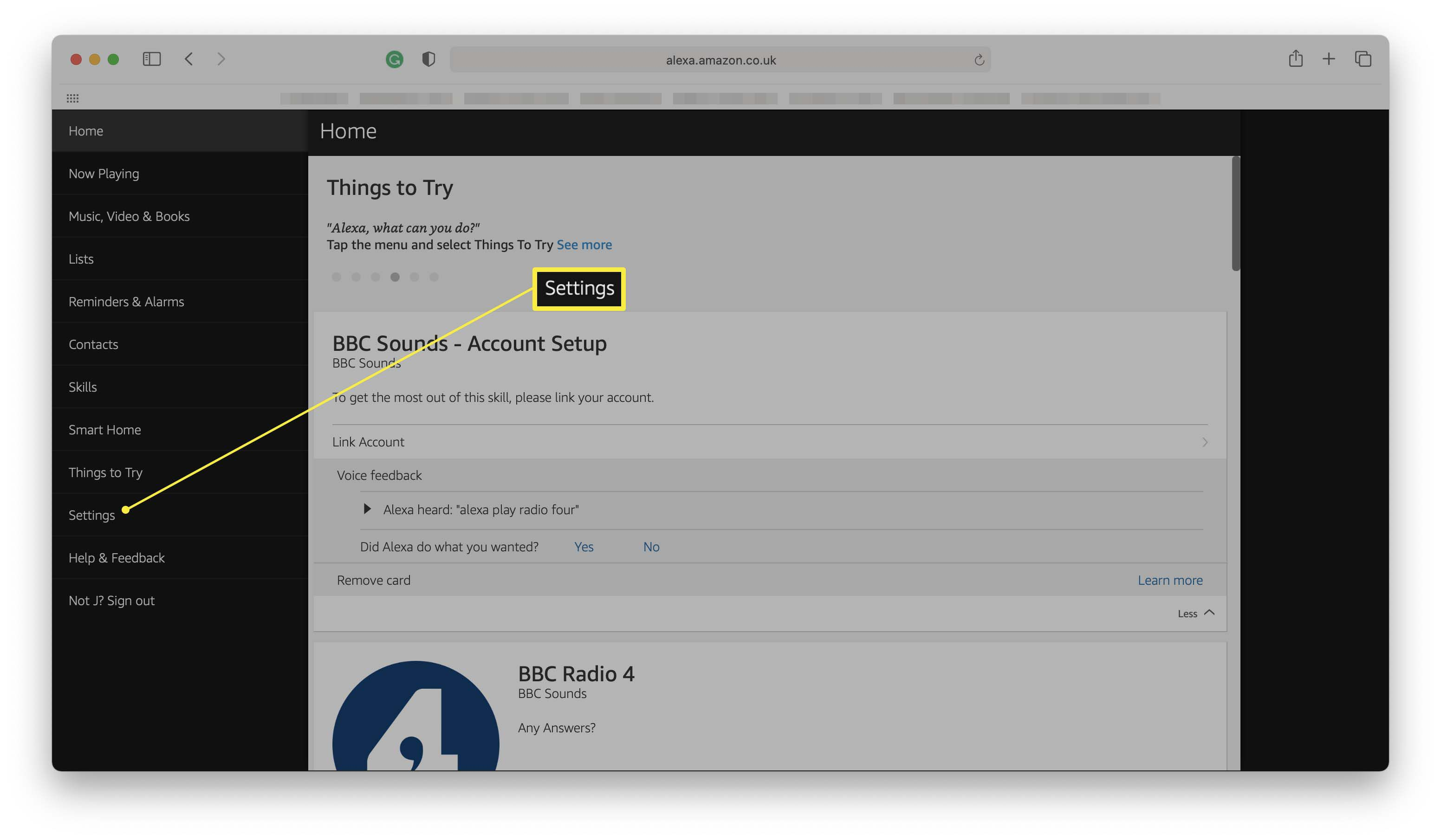 Alexa website with Settings highlighted