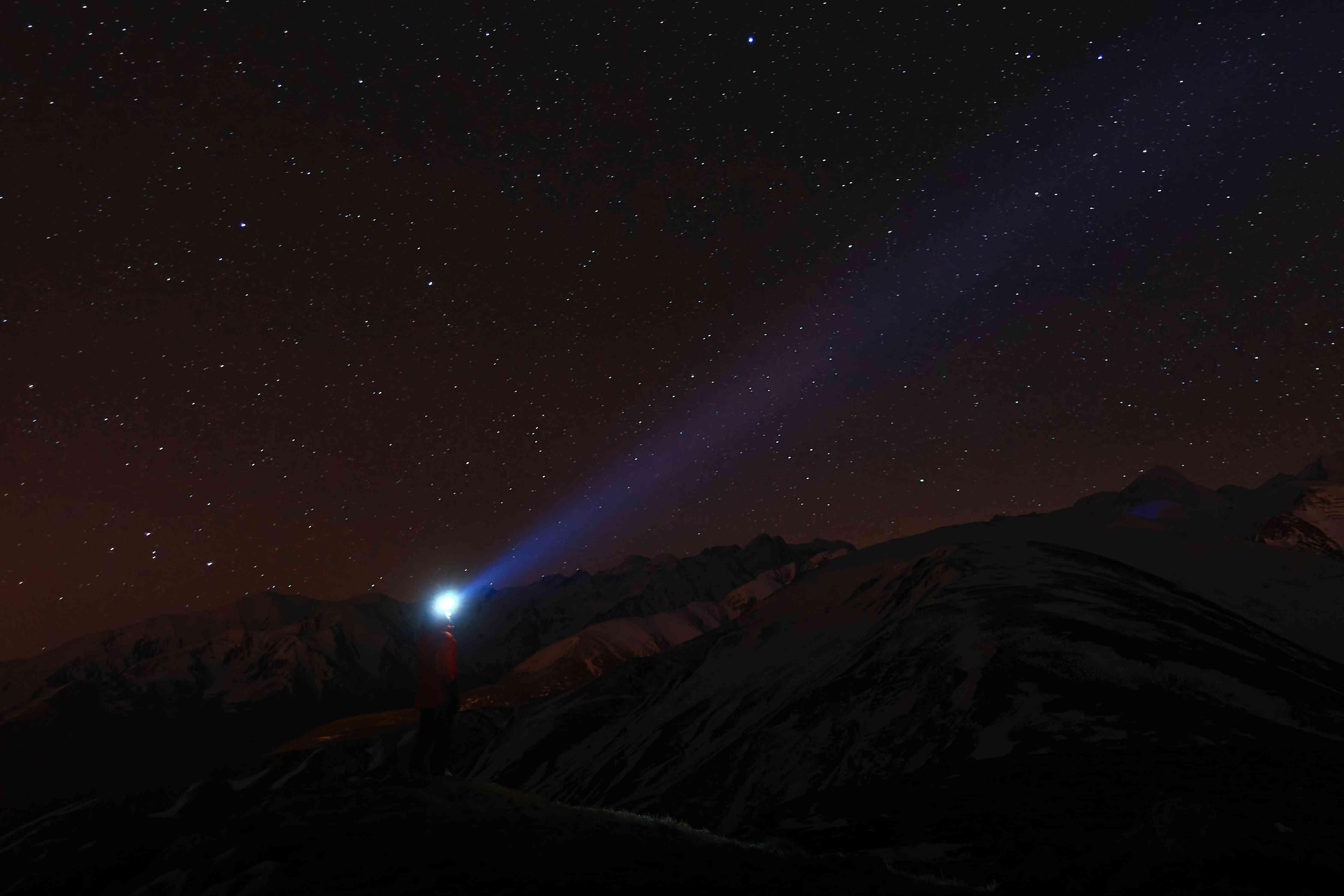 Light shining in the night sky