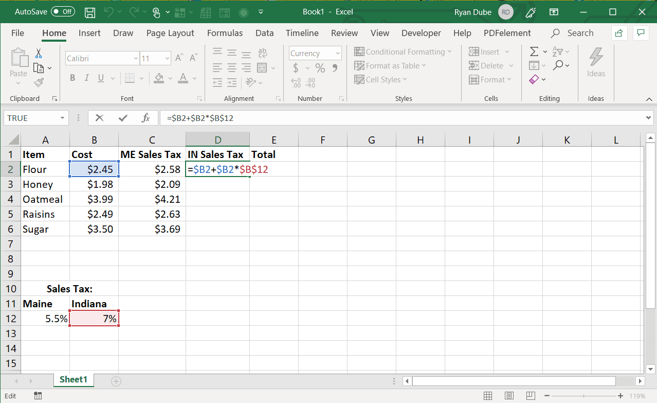 Screenshot of using the absolute reference for column and row