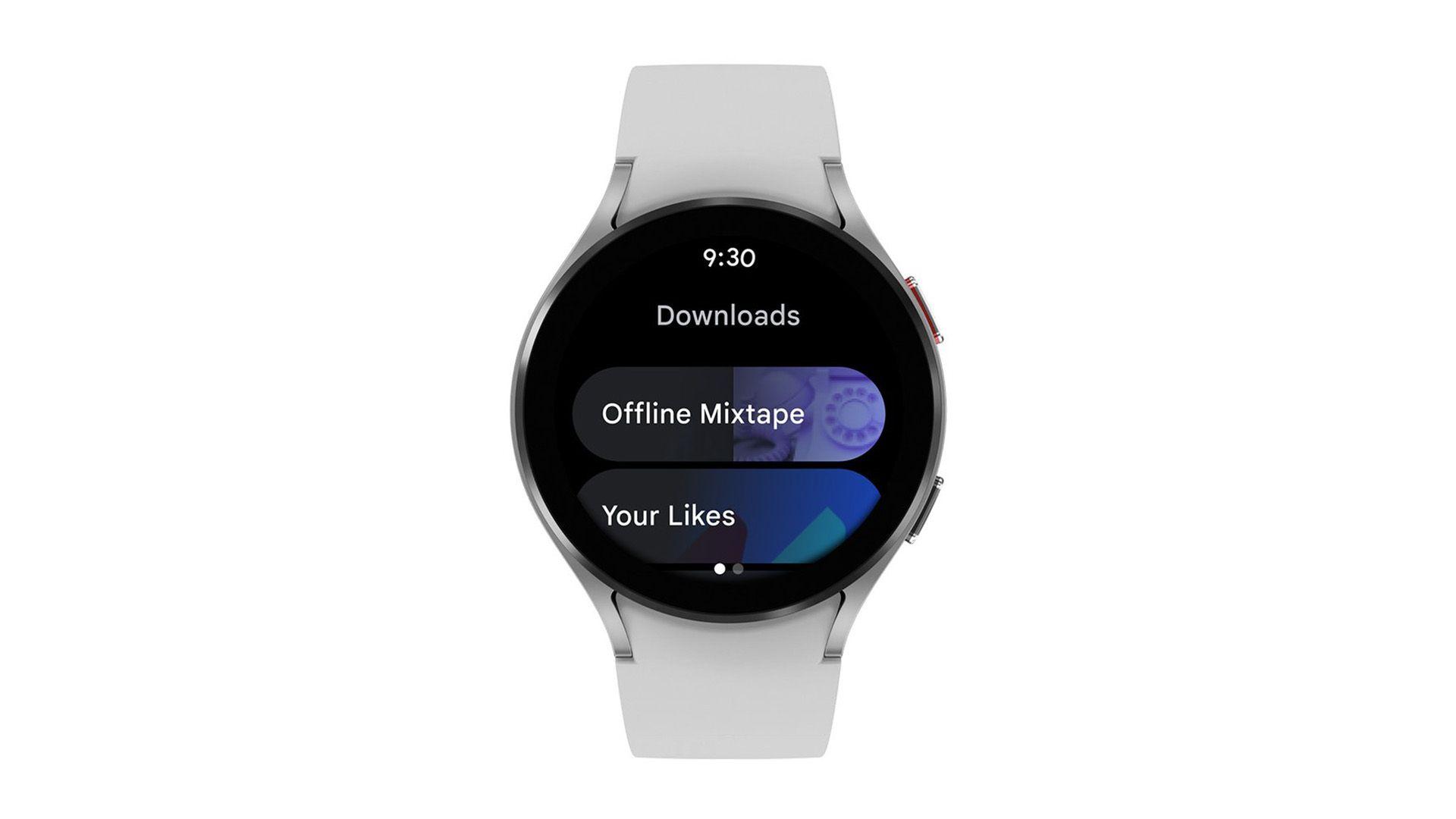 YouTube Music app open on Wear OS device