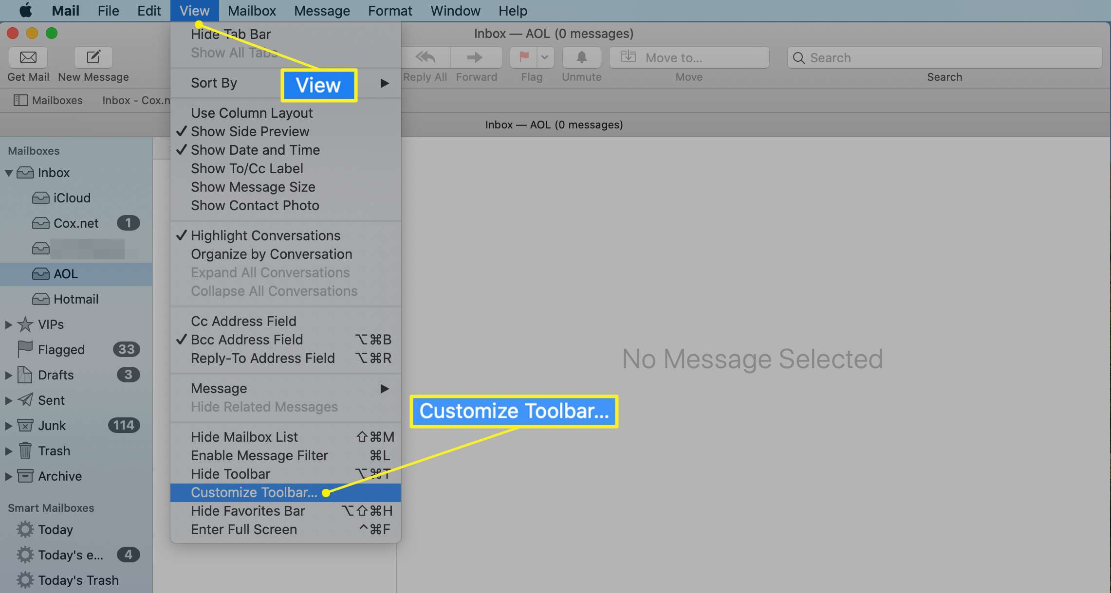 Customize Toolbar option in Mac Mail