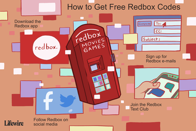 An illustration showing how to get free Redbox codes