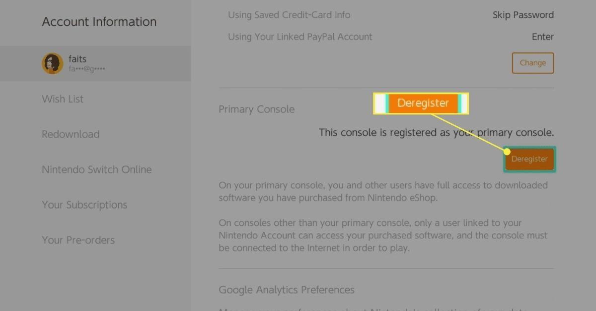 Deregister selection in the Nintendo eShop.
