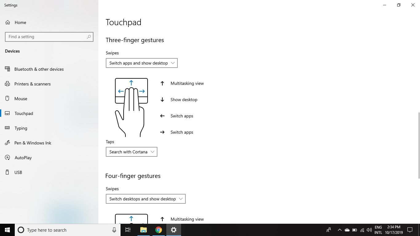 Scroll down further to customize Three-finger gestures and Four-finger gestures.