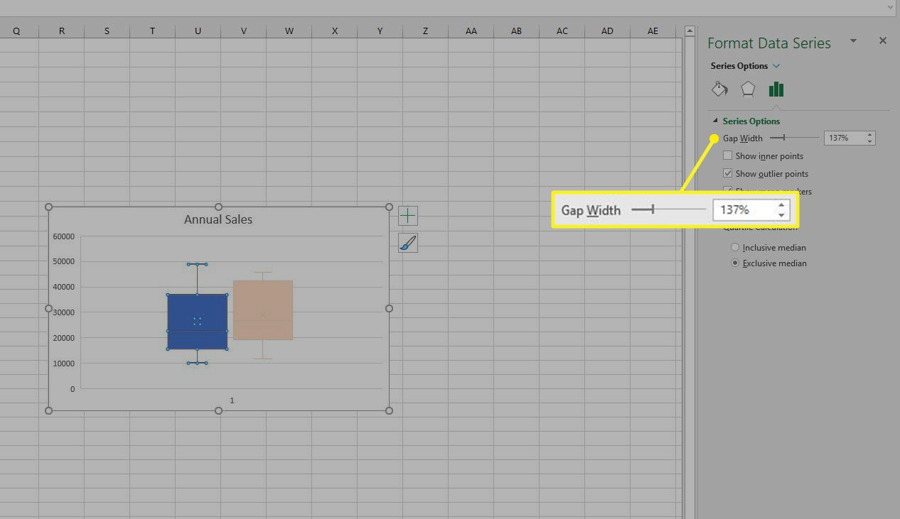 Gap Width slider in Excel