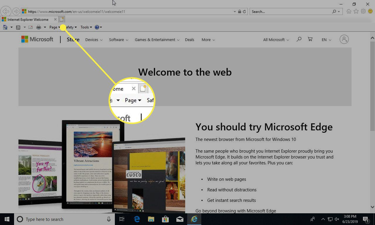 A screenshot of Internet Explorer with the Page menu highlighted