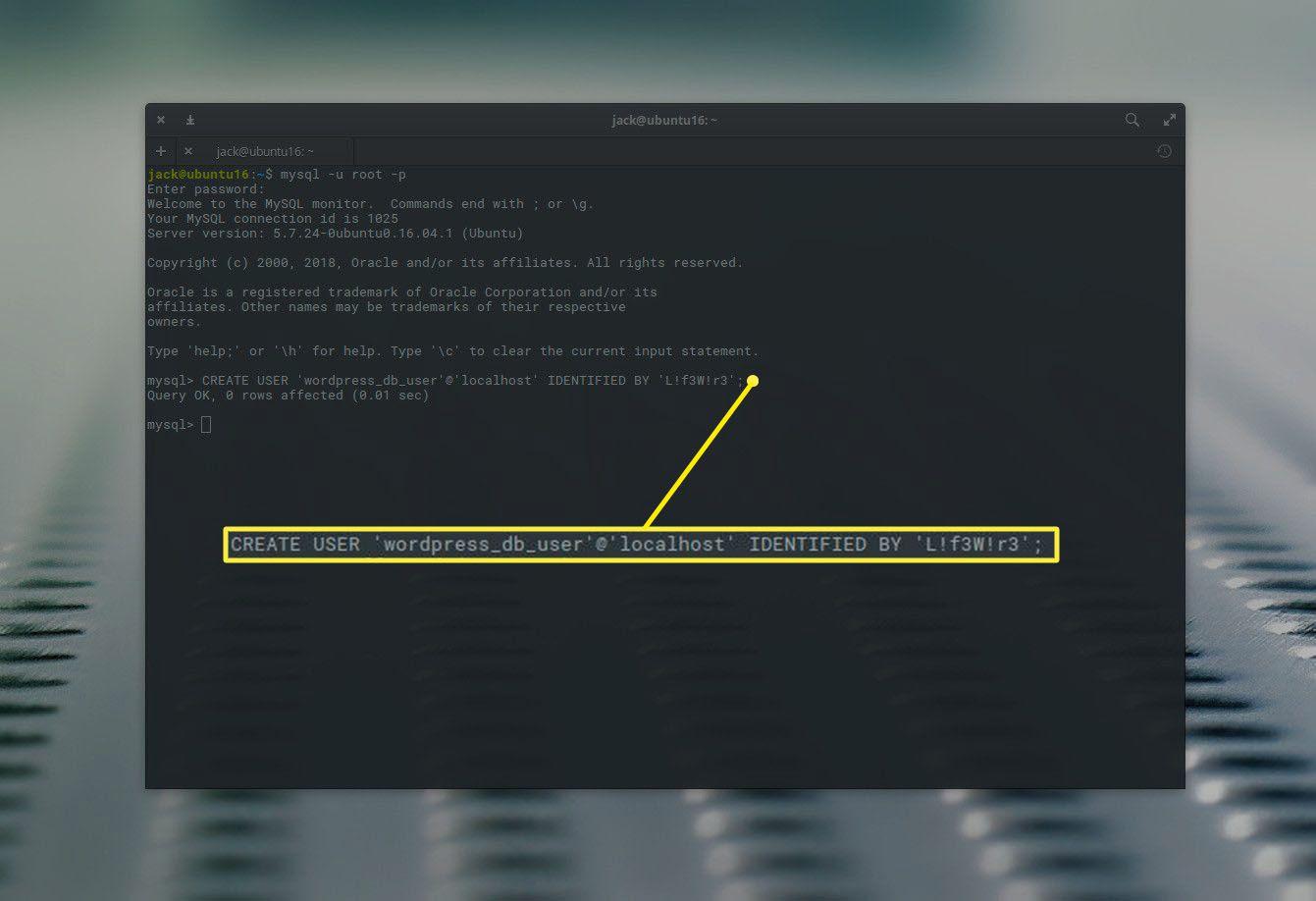 MySQL user creation in Ubuntu
