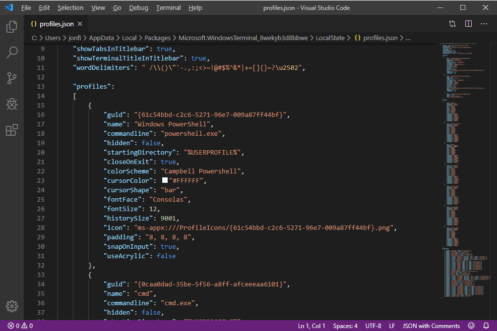 Windows Terminal profiles.json file