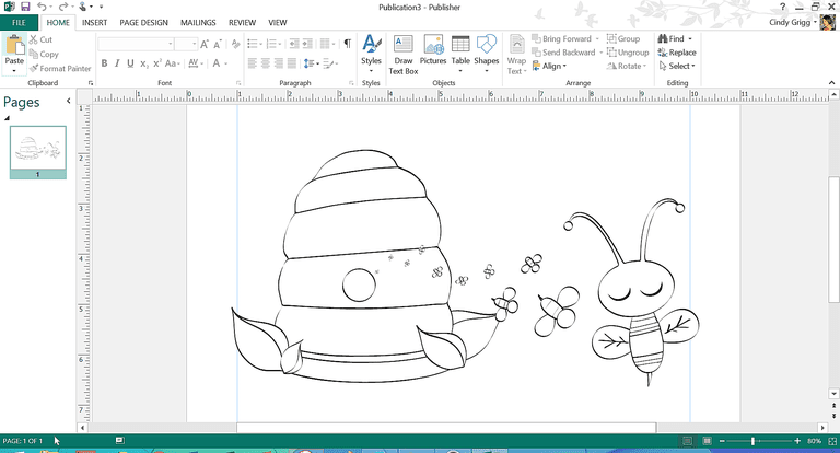 Bumble Bee Coloring Sheet Template For Microsoft Publisher