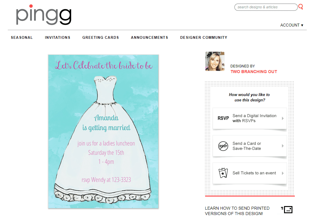 Pingg Bridal Shower Ecard