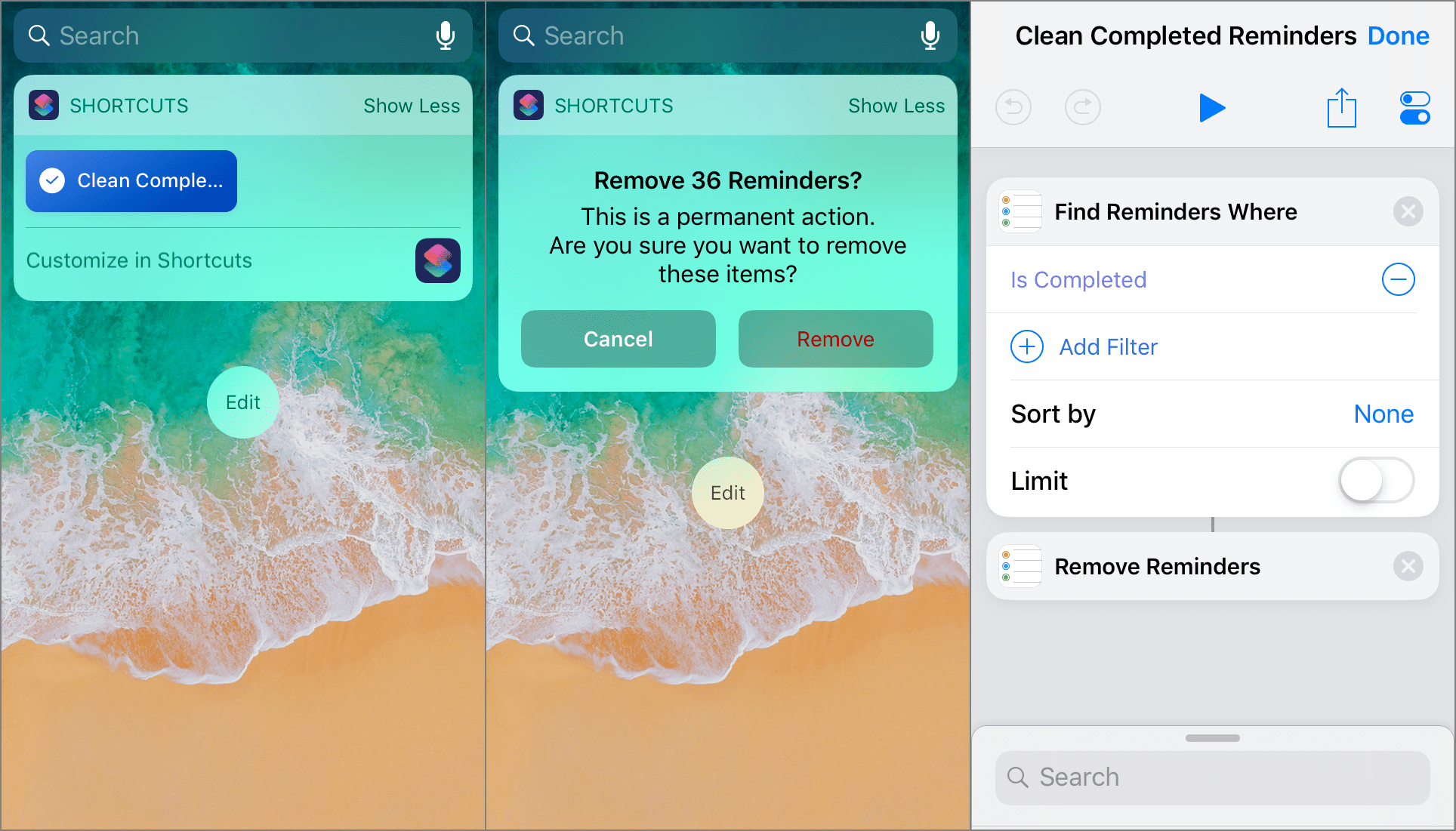 Clean Completed Reminders iOS shortcut