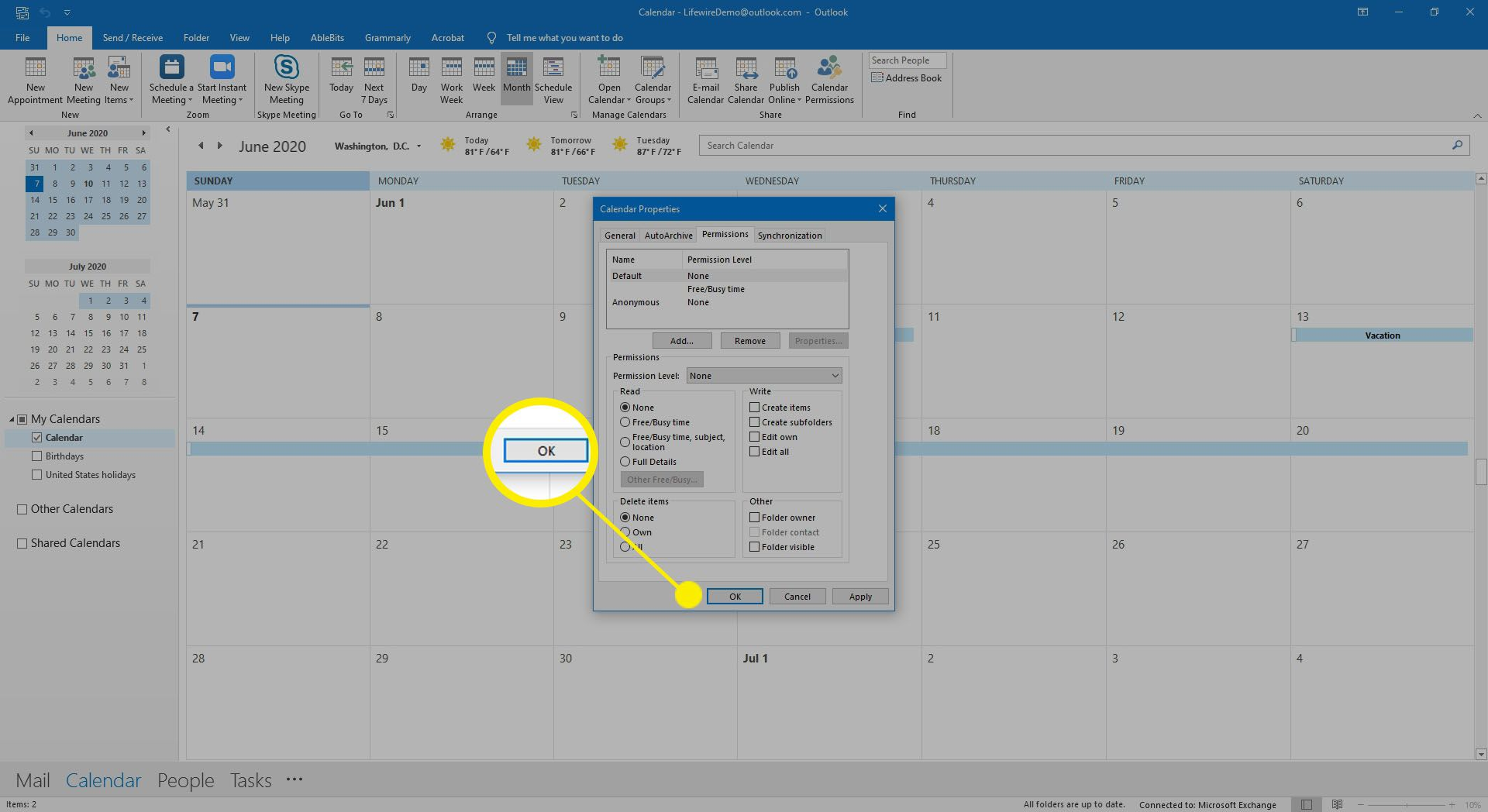 Selecting OK to complete removal of calendar permissions.