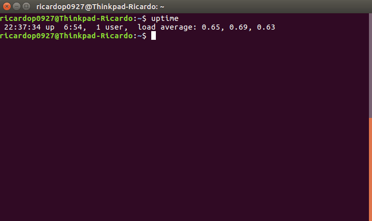 The uptime command in a Ubuntu terminal.