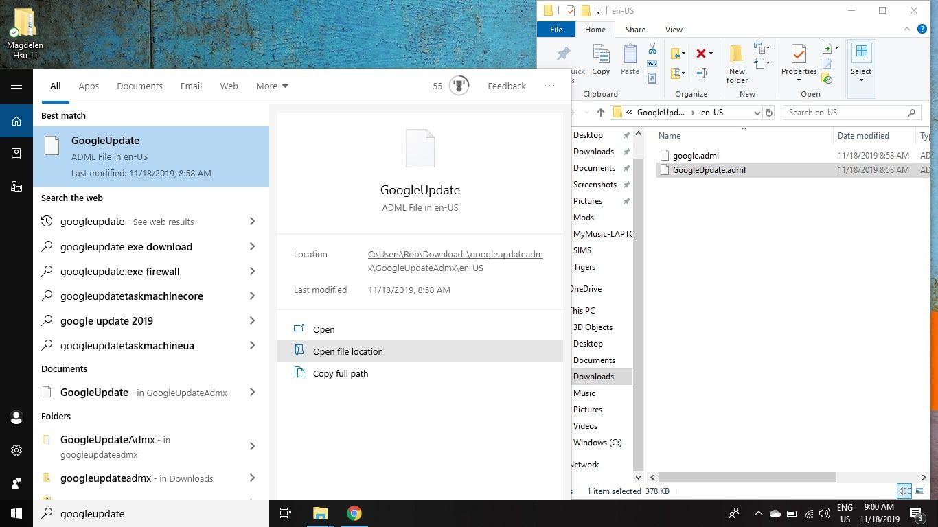 Use the search feature in the Windows taskbar to locate and delete all instances of the Google Update files by searching for googleupdate.