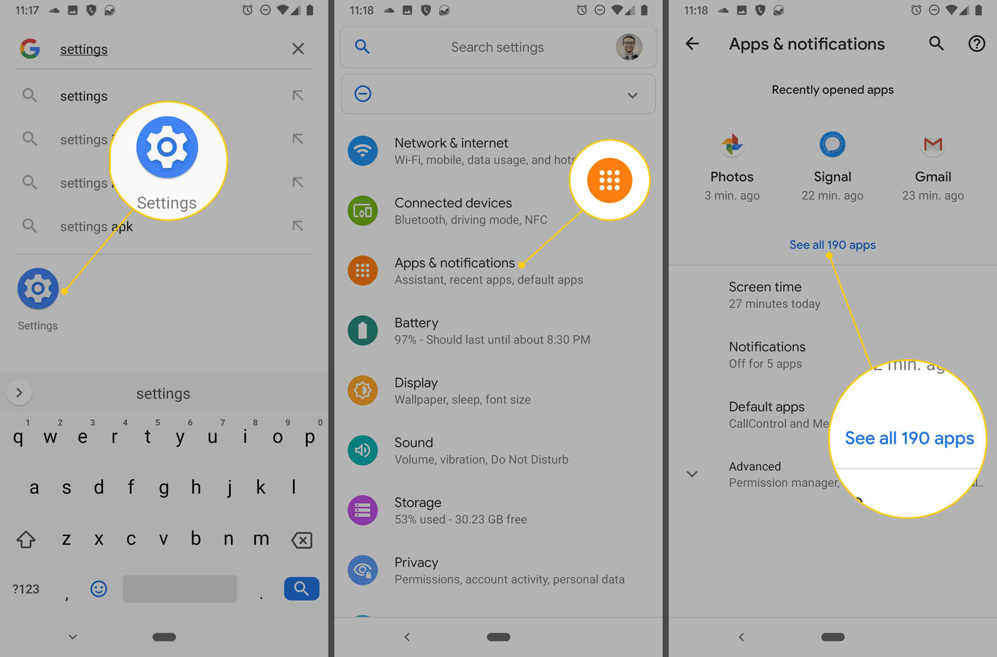 See all apps on an Android phone