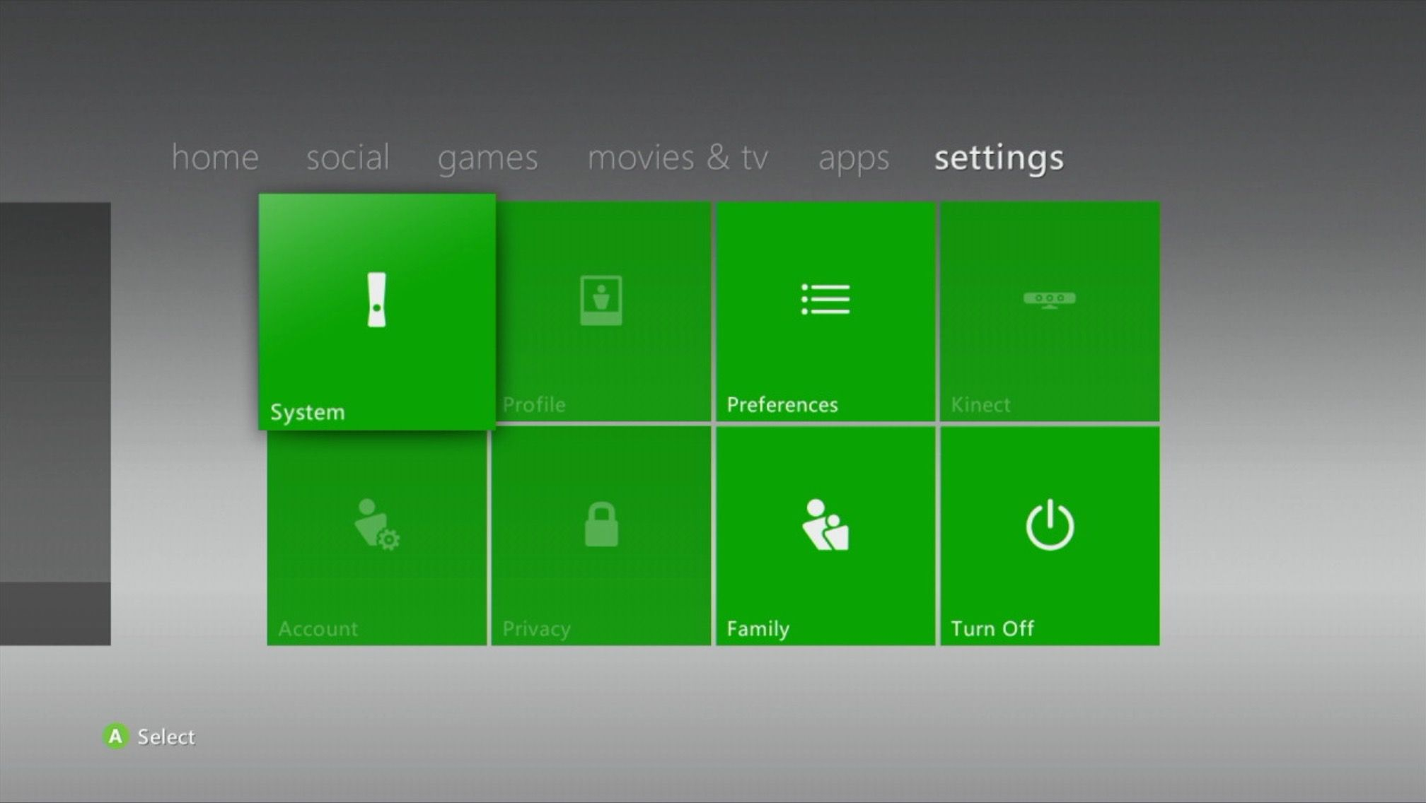 Settings section on an Xbox 360