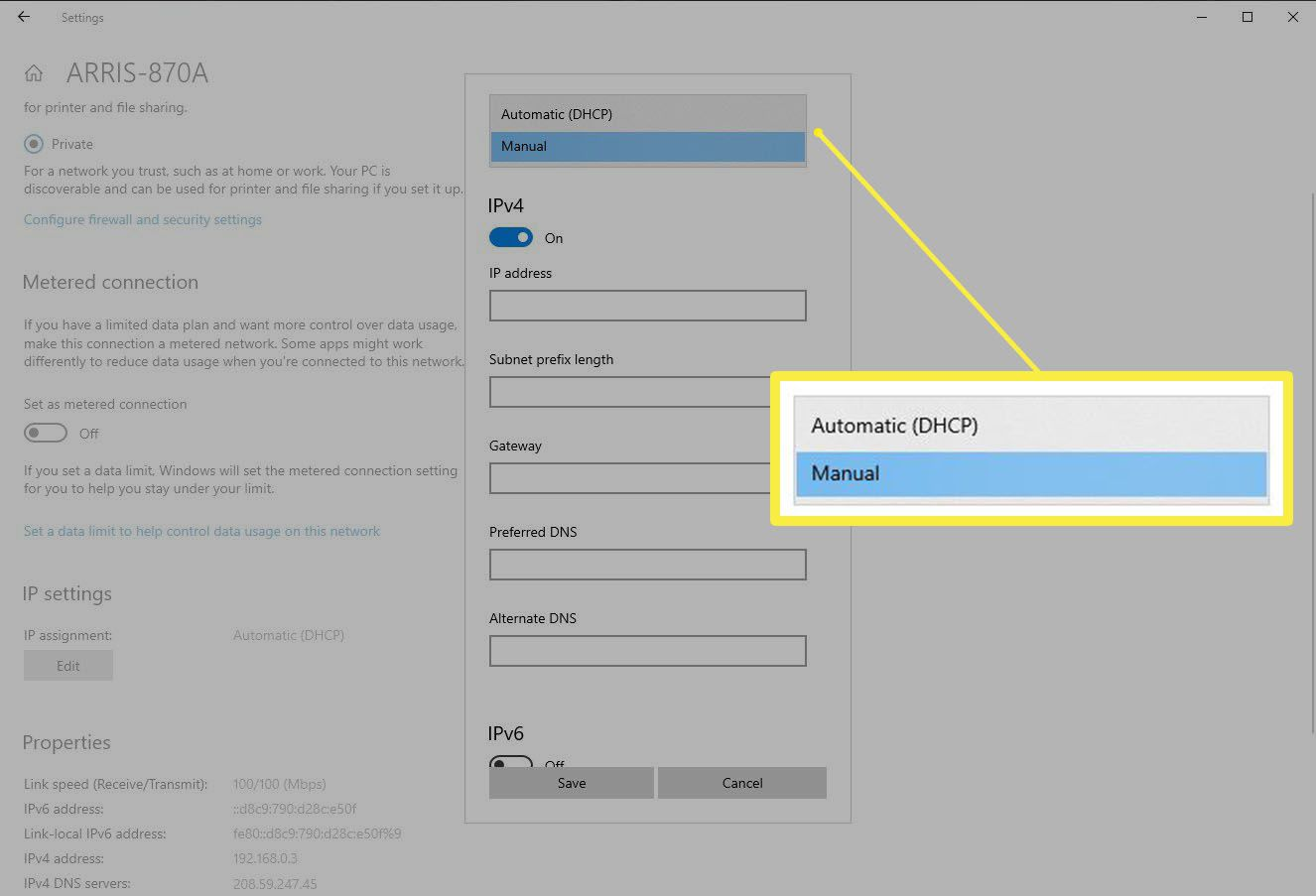 Switching the IP Settings from Automatic to Manual in Windows Settings
