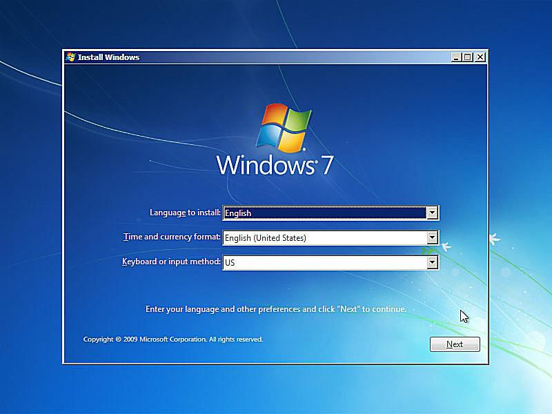 Windows 7 setup asking you to Choose Language and Other Preferences