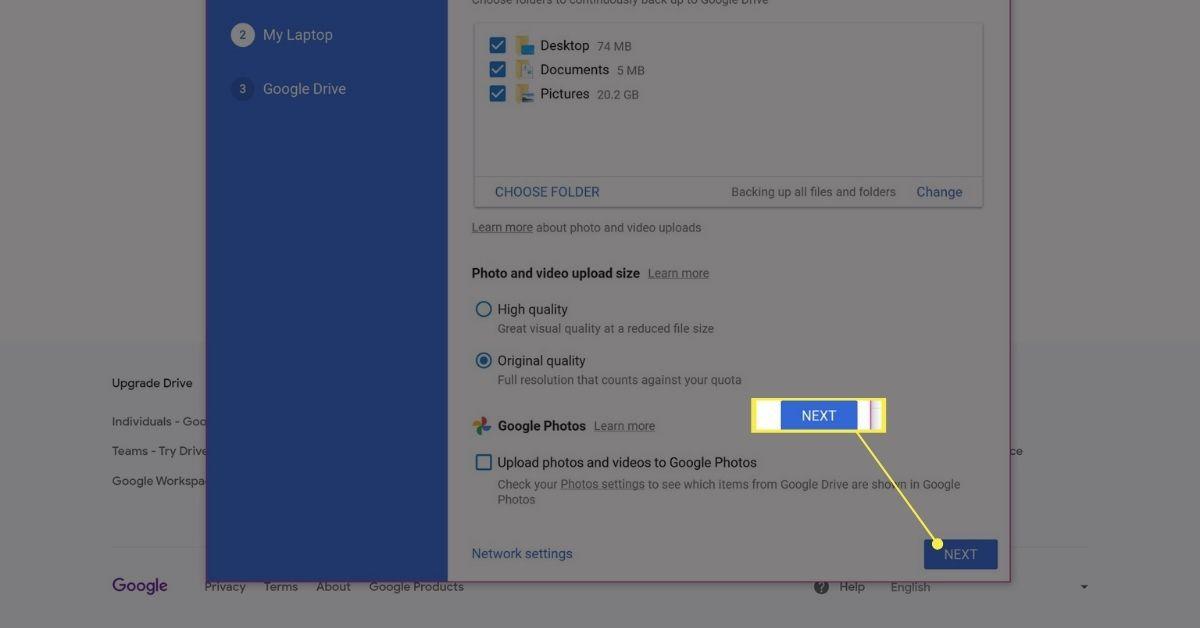 Next button on Google Drive Backup and Sync app setup.