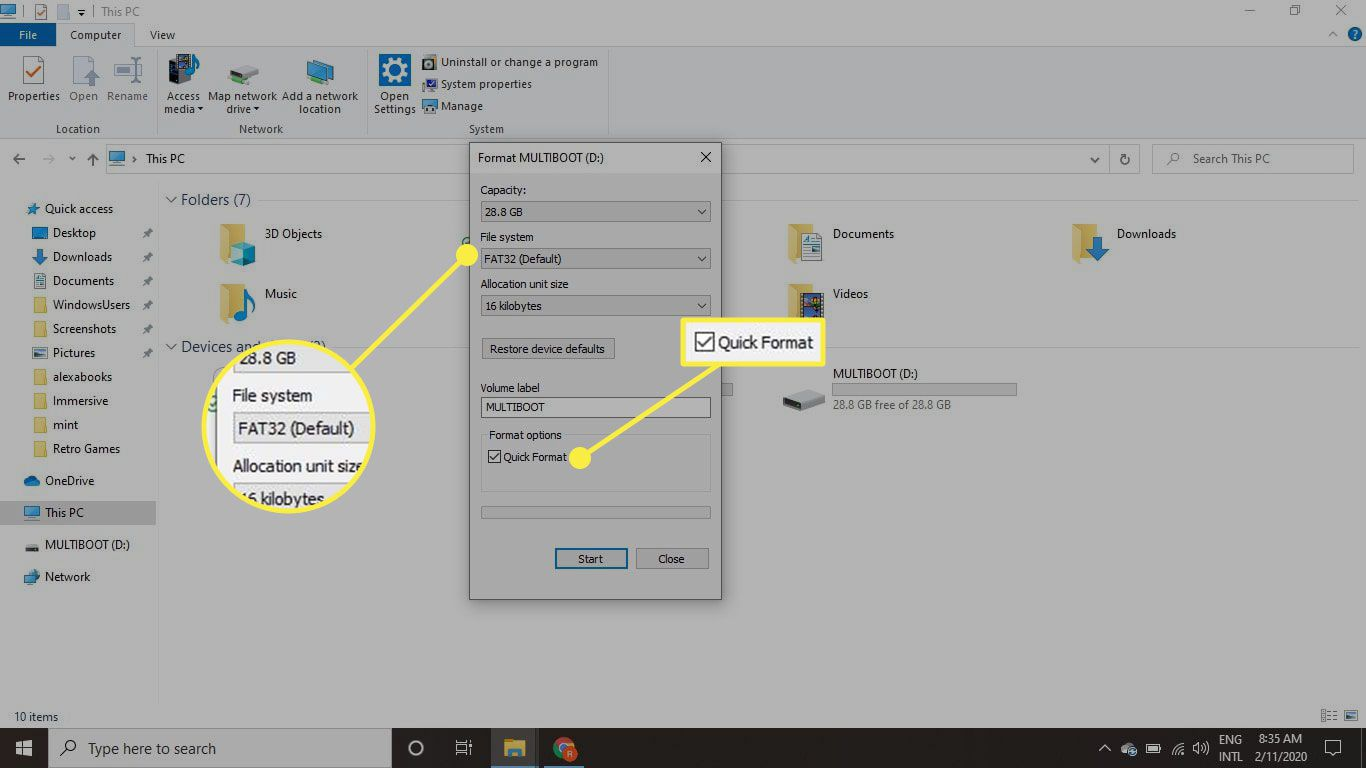 The File System and Quick Format options