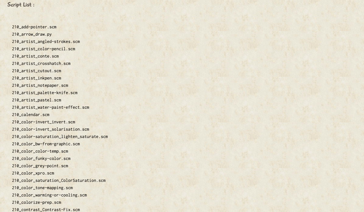 Screenshot of the list of scripts included in the bundle.