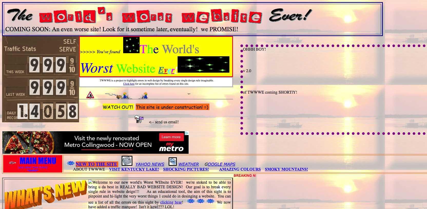 A screenshot of TheWorldsWorstWebsiteEver.com.