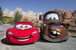 Sculptures of characters from Disney's Cars franchise.