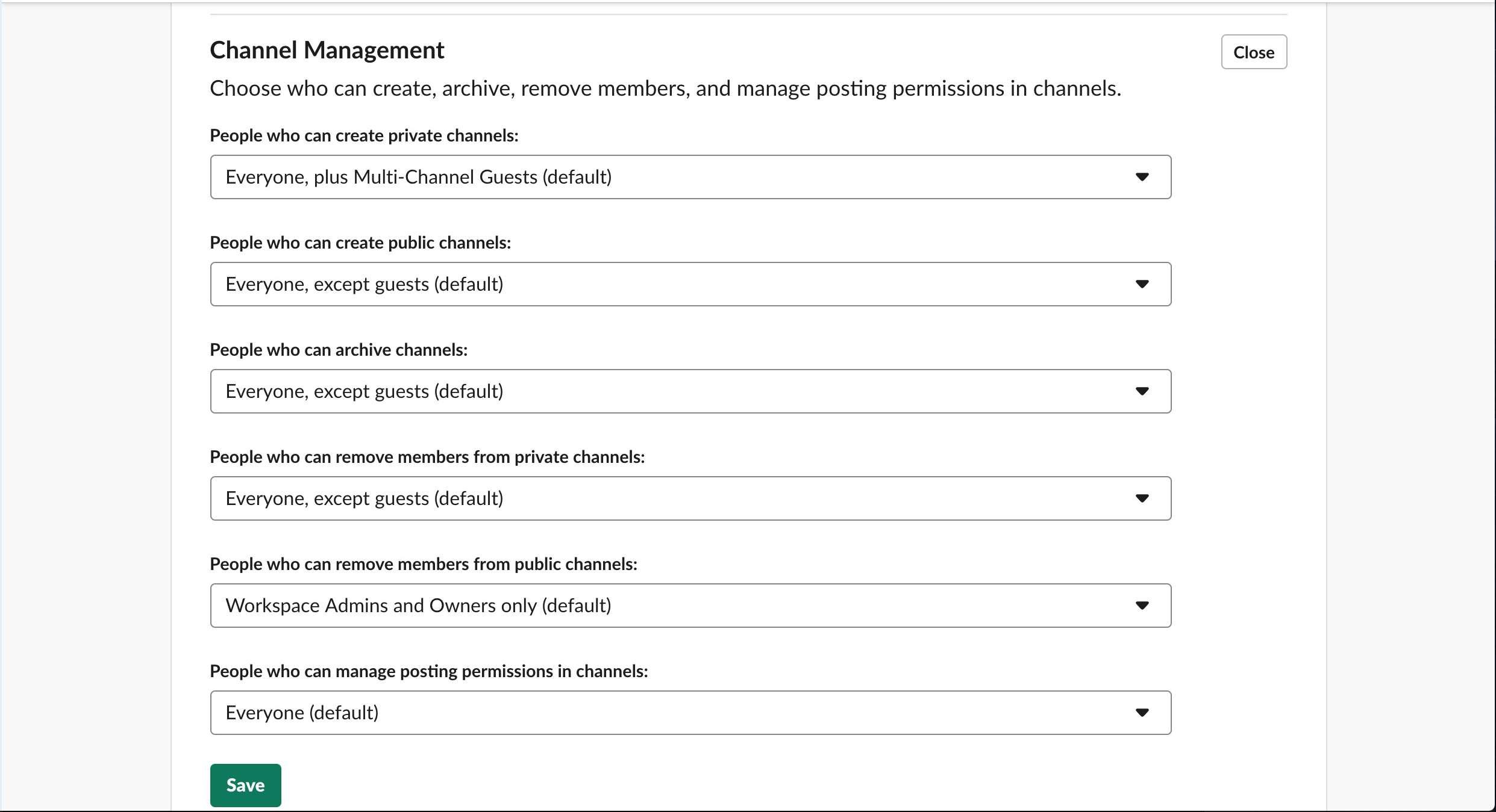 Channel Management window