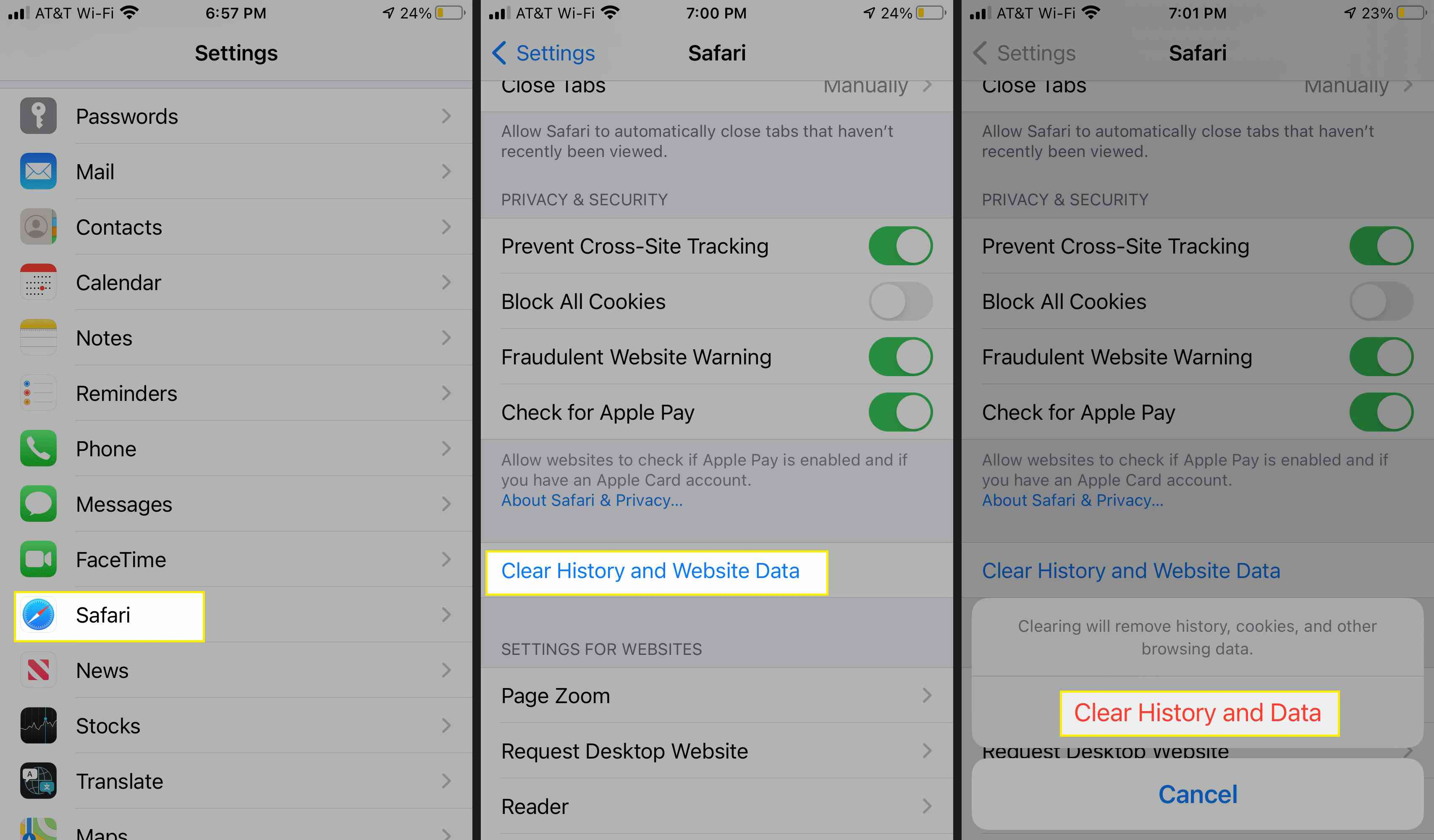 Clear History and Website Data in Safari for iOS